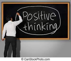 Positive Thinking Concept - Businessman writing Positive ...
