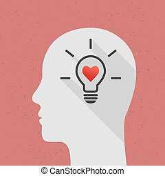 Positive thinking concept with lightbulb and head