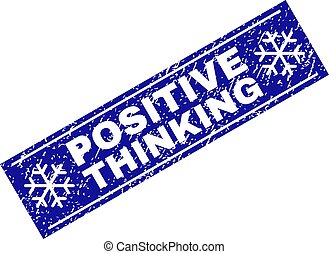 POSITIVE THINKING Grunge Rectangle Stamp Seal with Snowflakes