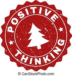 POSITIVE THINKING Grunge Stamp Seal with Fir-Tree