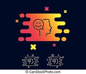 Positive thinking line icon. Communication sign.