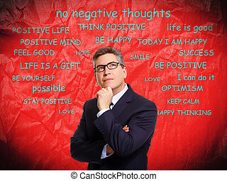 Positive thinking man over abstract background. - Positive ...