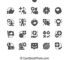 Positive thinking. Positive communication and harmony. Good thoughts. Idealistic, optimism, inspiration, better and best. Vector Solid Icons. Simple Pictogram