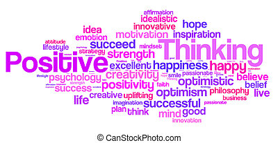 Positive thinking word cloud. Positive thinking typography...