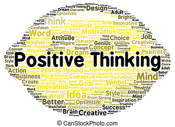 Positive thinking word cloud shape concept