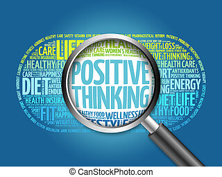 Positive thinking word cloud with magnifying glass, health ...