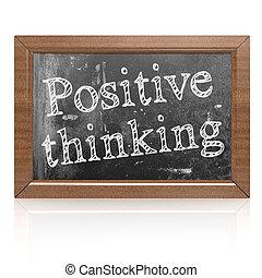 Positive thinking written on blackboard