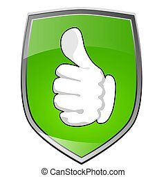 Positive Thumb up - Shield with thumb up icon in green
