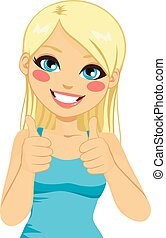 Positive Thumbs Up Blonde Woman
