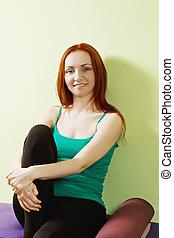 Positive woman in green shirt