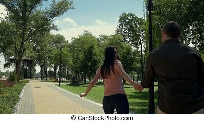 Positive woman running with her husband
