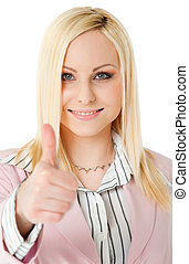 positive woman thumbs up