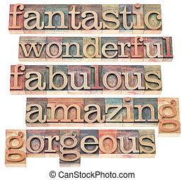 positive words typography - fantastic, wonderful, fabulous,...