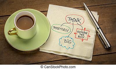 positively, groß, denken, kasten, draußen