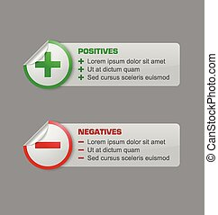 Positives and negatives stickers