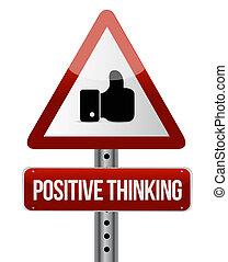 positives denken, aufmerksamkeit, straße zeichen, begriff