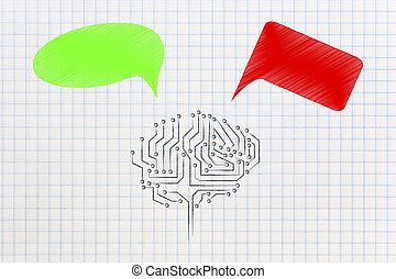 artificial intelligence brain with green and red thoughts ...