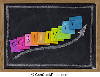 positivity concept on blackboard - color sticky notes and...