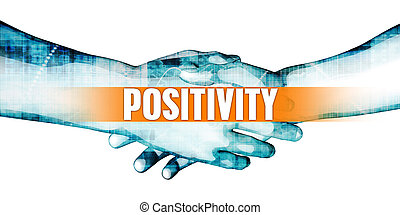 Positivity Concept with Businessmen Handshake on White...