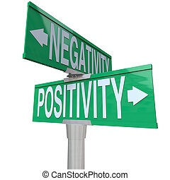 A green two-way street sign pointing to Positivity vs Negativity