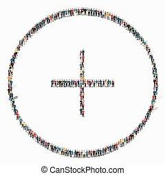 positivo, ícone, sinal, pessoas