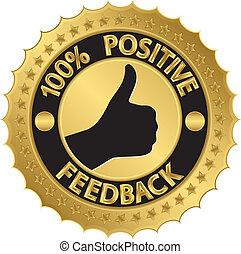 positivo, 100 percento, feedback, golde