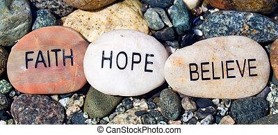 positivo, afirmação, stones., três