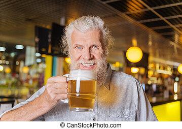 positivo, alegre, sorrindo, envelhecido, tu, homem
