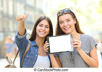positivo, amici, esposizione, uno, vuoto, tavoletta, schermo