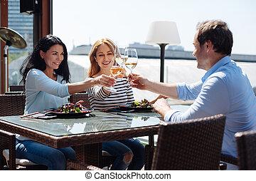 positivo, amigos, reunião, encantado, restaurante
