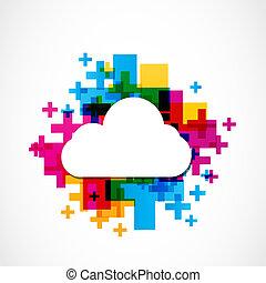 positivo, astratto, colorito, nuvola
