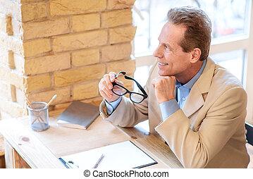 positivo,  café, homem, sentando