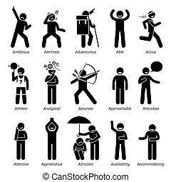 positivo, carácter, rasgos, con, un