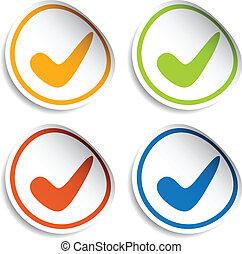 positivo, checkmark, vetorial, adesivos