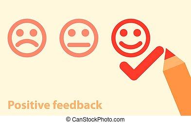 positivo, concetto, feedback