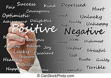 positivo, contra, negativo