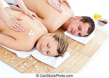 positivo, coppia, giovane, indietro, godere, massaggio
