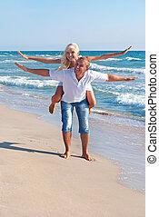 positivo, coppia, volare, mare, spiaggia, amare