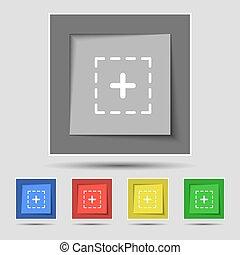 positivo, em, quadrado, ícone, sinal, ligado, original, cinco, colorido, buttons., vetorial