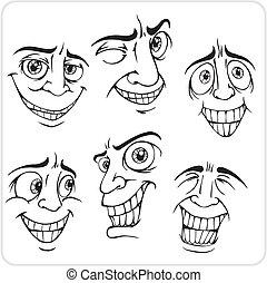 positivo, emociones, -, vector, set.
