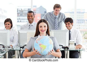 positivo, equipo negocio, tenencia, un, gl