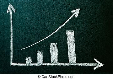 positivo, esposizione, crescita, grafico, affari