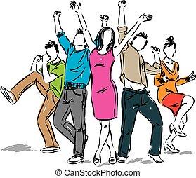 positivo, feliz, grupo, ilustración, gente