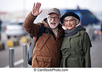 positivo, feliz, par velho, é, expressar, alegria