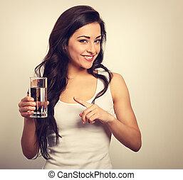 positivo, feliz, toothy, mulher sorridente, com, longo,...