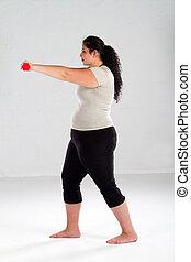 positivo, femininas, exercício, tamanho