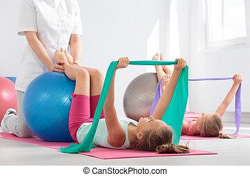 positivo, fisioterapia, sessione, bambini