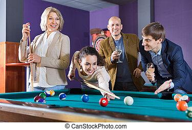 positivo, grupo, alegre, bastante, amigos, billar, juego