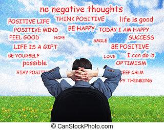 positivo, hombre, thinking.