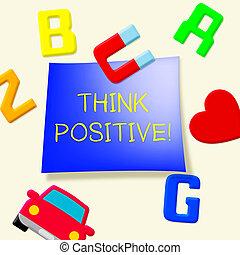 positivo, ilustração, optimista, 3d, pensar, pensamentos, mostra